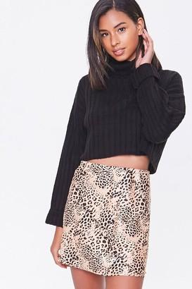 Forever 21 Satin Animal Print Mini Skirt
