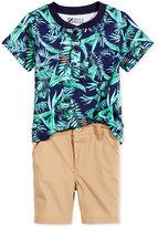 Nannette 2-Pc. Tropical-Print Henley Shirt & Shorts Set, Baby Boys (0-24 months)
