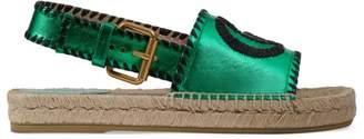 Gucci Metallic Leather Espadrille Sandals