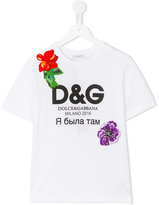 Dolce & Gabbana logo print T-shirt - kids - Silk/Cotton/Polyester/Crystal - 6 yrs