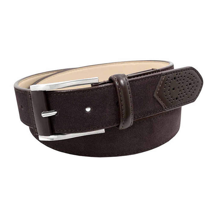 Stacy Adams Suede Belt with Leather Tab