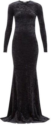 Balenciaga Fishtail-hem Crushed-velvet Dress - Womens - Black