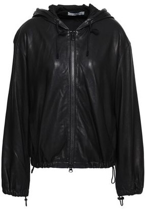 Vince Leather Hooded Bomber Jacket