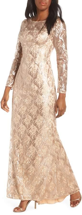 Eliza J Sequin Mesh Long Sleeve Gown
