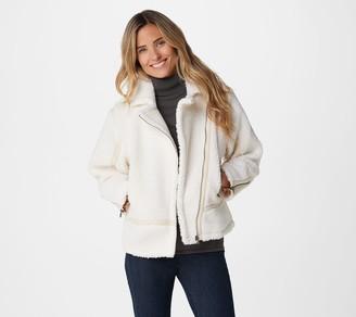 Laurie Felt Faux Shearling Zip-Front Moto Jacket