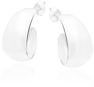 Aeravida Handmade Trendy Crescent Moon Half Hoop Sterling Silver Earrings