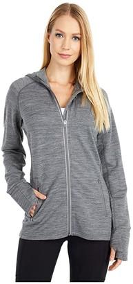 Icebreaker Quantum Long Sleeve Hood (Gritstone Heather) Women's Clothing
