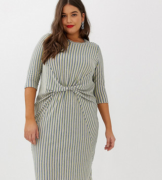Junarose stripe twist front midi dress