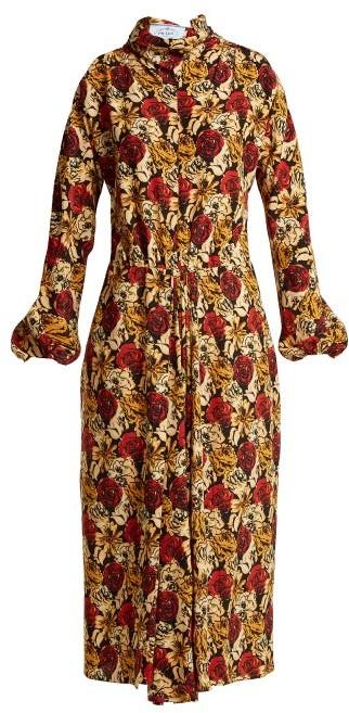 Prada Marocaine Floral-print Silk Dress - Womens - Yellow Print