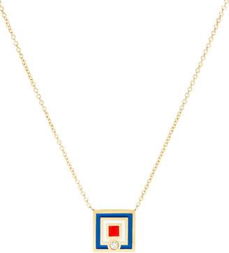 K Kane Code Flag Square Diamond Pendant Necklace - W