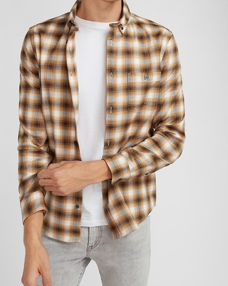 Express Slim Plaid Stretch Flannel Shirt