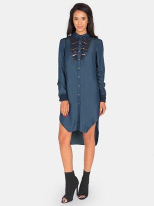 Standards & Practices Felicity Lace Inset Tencel Denim Shirt Dress