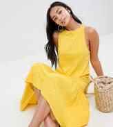 Asos Design Petite Maxi Dress With Racer Back And Hi Lo Pep Hem