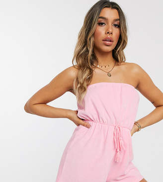 Asos Design DESIGN jersey towelling bandeau beach playsuit with rope belt in dolly pink
