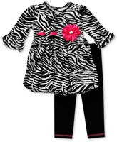 Sweet Heart Rose Girls Set, Little Girls 2-Piece Zebra Tunic and Leggings