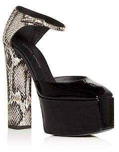 Giuseppe Zanotti Women's Embossed Platform Block-Heel Pumps