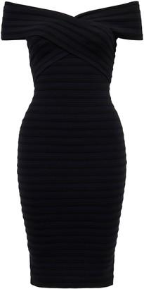 Forever New Rina Cross Front Bardot Dress - Black - 4