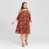 Xhilaration Women's Plus Size High-Neck Cold Shoulder Dress Pink Floral