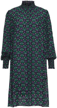 Anna Sui Shirred Printed Mousseline Mini Dress