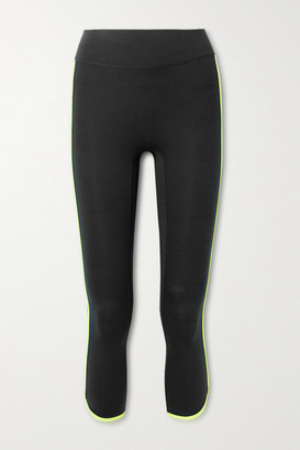 All Access Vinyl Record Cropped Striped Stretch Leggings - Black
