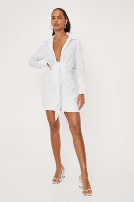 Nasty Gal Womens Low V-Neck Tie Front Shirt Dress - White