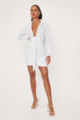 Nasty Gal Womens Never Tied Down Shirt Dress - White - 8
