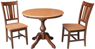 International Concepts Round Dining Table & Chair 3-piece Set