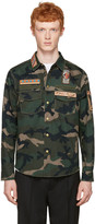 Valentino Green Embroidered Camo Jacket