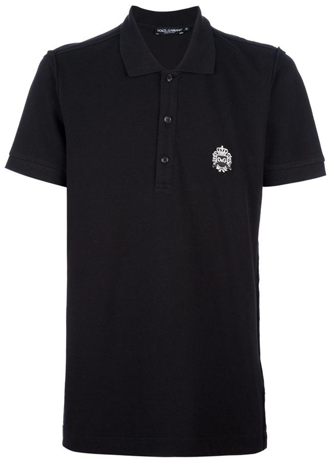 Dolce & Gabbana emblem polo neck t-shirt