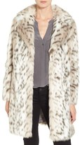 Eliza J Women's Faux Leopard Fur Coat