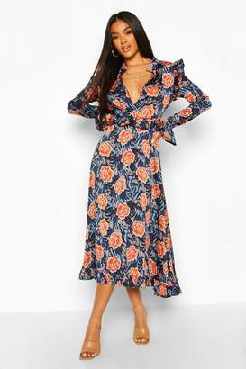 boohoo Satin Mixed Rose Print Ruffle Midaxi Dress