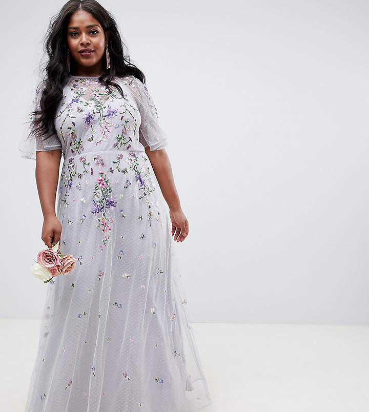 Asos DESIGN Curve floral embroidered dobby mesh flutter sleeve maxi dress