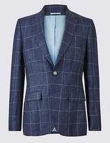 Marks and Spencer Pure Linen Checked 2 Button Jacket
