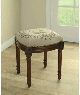 Charlton Homeâ® Holford Elk Linen Upholstered Vanity Stool with Nailhead Charlton HomeA