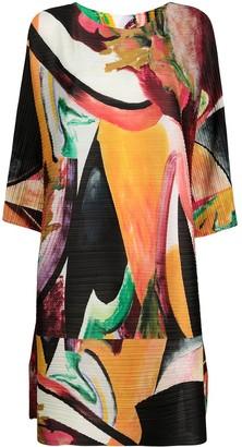 Pleats Please Issey Miyake Micro Pleat Abstract Dress