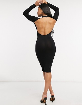 ASOS DESIGN going out long-sleeved sexy back midi dress in black