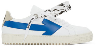 Off-White White and Blue Arrows Sneakers