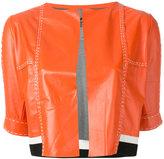 Aviu cropped short sleeve jacket - women - Leather/Polyamide/Polyester/Viscose - M