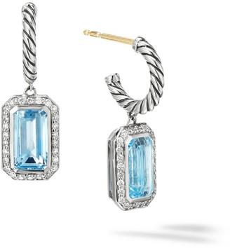 David Yurman Novella Sterling Silver, Diamond & Blue Topaz Cable Drop Earrings