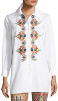 Etro Button-Front Long-Sleeve Embroidered Shirt