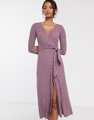Asos DESIGN Long sleeve marl belted midi dress