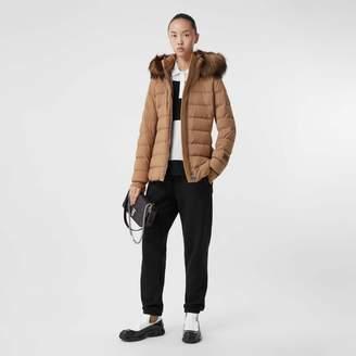 Burberry Faux Fur Trim Detachable Hood Puffer Jacket