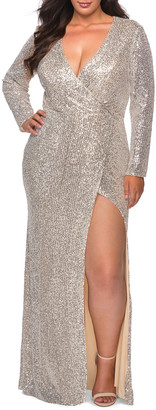 La Femme Plus Size Sequin V-Neck Long-Sleeve Gown with Slit