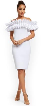 New York & Co. Dramatic Strapless Ruffled Sheath Dress
