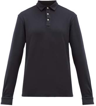 Altea Long-sleeved Cotton-jersey Polo Shirt - Mens - Navy