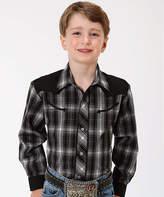 Roper Black & White Plaid Button-Up - Boys
