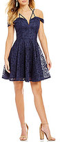 Jodi Kristopher Off-The-Shoulder Lace Fit-And-Flare Dress