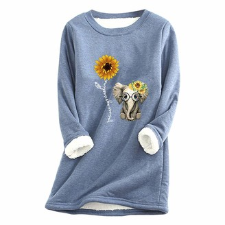 CUTUDU Winter Sweatshirt Christmas Underwear Women's T-Shirt Ladies Casual O-Neck Classic Long Sleeve Sweater Warm Thickened Plus Cashmere Close-Fitting Bottoming Shirt Top (Blue-B M)