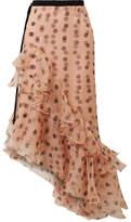 Johanna Ortiz Walking Palm Ruffled Polka-dot Silk-organza Skirt