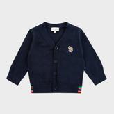 Paul Smith Baby Boys' Navy Zebra Logo Cardigan With Stripe Detail